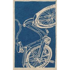 Bicycle Navy Hook Indoor / Outdoor Rug