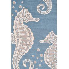 Seahorse Aqua Hook Rug