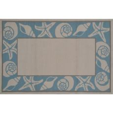 Sea Shells Blue Hook Indoor / Outdoor Rug - 8X10