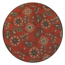 """Liora Manne Riviera Floral Vine Indoor/Outdoor Rug Red 7'10"""" Rd"""