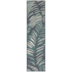"Liora Manne Riviera Palm Indoor/Outdoor Rug Teal 23""X7'6"""