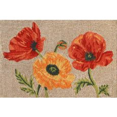 "Liora Manne Ravella Icelandic Poppies Indoor/Outdoor Rug - Natural, 24"" By 36"""