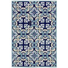 """Liora Manne Ravella Floral Tile Indoor/Outdoor Rug - Blue, 42"""" By 66"""""""