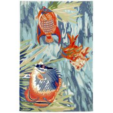 Liora Manne Ravella Tropical Fish Indoor/Outdoor Rug - Blue, 8' by 8'