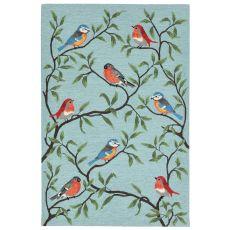 "Liora Manne Ravella Birds On Branches Indoor/Outdoor Rug - Blue, 7'6"" By 9'6"""