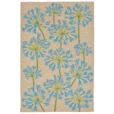 """Liora Manne Ravella Desert Lily Indoor/Outdoor Rug - Blue, 5' By 7'6"""""""