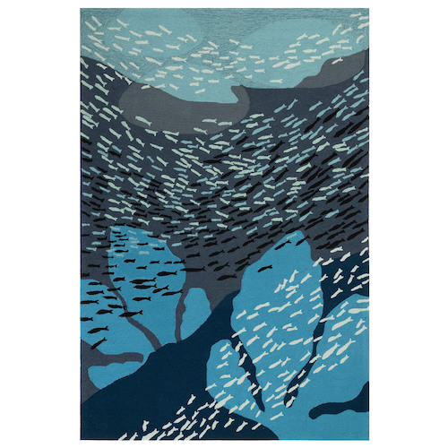 "Liora Manne Ravella School Of Fish Indoor/Outdoor Rug Navy 42""X66"""