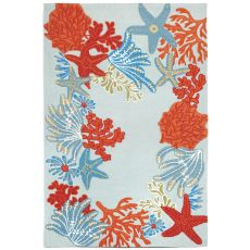 Liora Manne Ravella Ocean Scene Indoor/Outdoor Rug - Blue, 8' by 8'