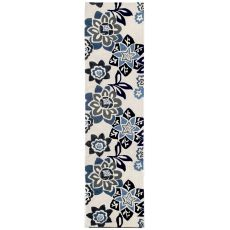 """Liora Manne Ravella Floral Indoor/Outdoor Rug - Blue, 24"""" By 8'"""