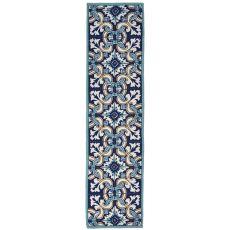 """Liora Manne Ravella Floral Tile Indoor/Outdoor Rug - Blue, 24"""" By 8'"""