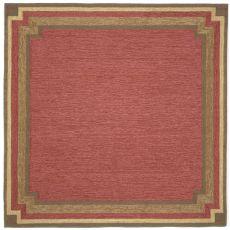 Liora Manne Ravella Border Indoor/Outdoor Rug - Red, 8' By 8'