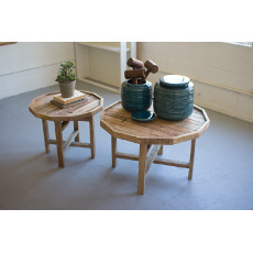 Recycled Round Wood Tables (set of 2)