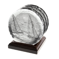 Sailboat 4 Piece Coaster Set with Caddy