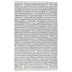 Contemporary Geometric Pattern Brown/Gray Wool And Viscose Area Rug ( 8X11)