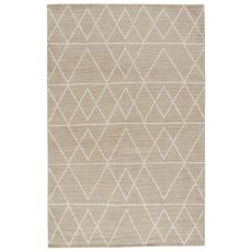 Youth Geometric Pattern Neutral Silk And Cotton Area Rug ( 8X11)