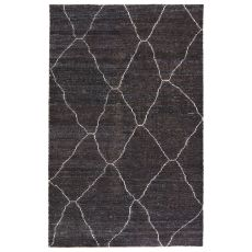 Modern Solids & Heather Pattern Black/White Rayon And Cotton Area Rug ( 8X11)