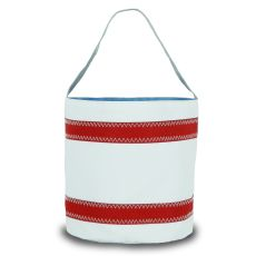 Nautical Stripe Bucket Bag - White And Red
