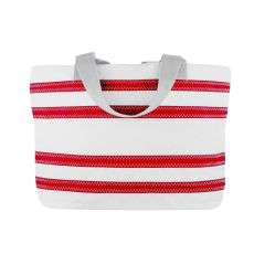 Sailcloth Nautical Stripe Medium Tote, White with Red Strupes