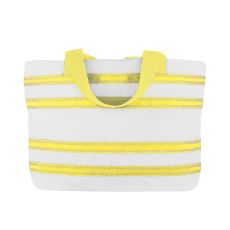 Sailcloth Cabana Medium Striped Tote, White with Yellow Strips