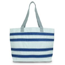 Nautical Stripe Large Tote - White And Blue