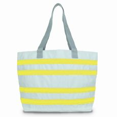 Sailcloth Cabana Large Striped Tote, White with Yellow Stripes