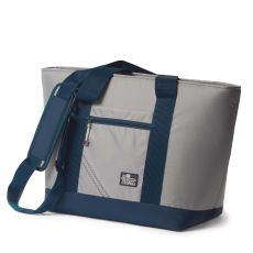Sailcloth Silver Spinnaker Insulated Cooler Tote, Silver with Blue Trim