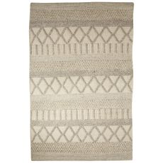 Contemporary Tribal Pattern Ivory/Gray Wool And Cotton Area Rug (8X10)