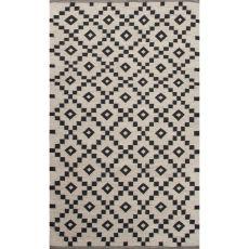 Flatweave Tribal Pattern Ivory/Black  Wool Area Rug (8X10)