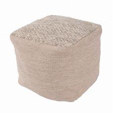 """Taupe/Tan Wool Pouf (16""""x16""""x16"""")"""