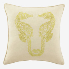 Seahorse In Gold Embroidered Pillow