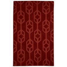 Solids Trellis, Chain And Tile Pattern Red Wool Area Rug (9X12)