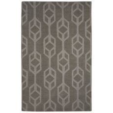 Solids Trellis, Chain And Tile Pattern Gray Wool Area Rug (9X12)