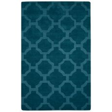 Solids Trellis, Chain And Tile Pattern Blue Wool Area Rug (9X12)