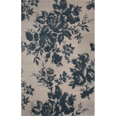 Contemporary Floral & Leaves Pattern Ivory/Blue Wool And Art Silk Area Rug (8X10)