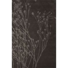 Contemporary Floral & Leaves Pattern Gray Wool And Art Silk Area Rug (8X10)