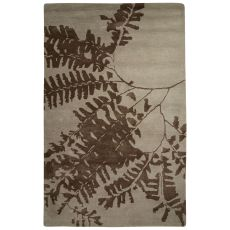 Contemporary Floral & Leaves Pattern Taupe/Tan Wool And Art Silk Area Rug (8X10)