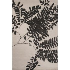 Contemporary Floral & Leaves Pattern White/Black Wool And Art Silk Area Rug (8X10)
