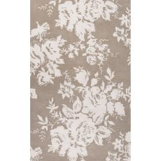 Contemporary Floral & Leaves Pattern Gray/Ivory Wool And Art Silk Area Rug (8X10)
