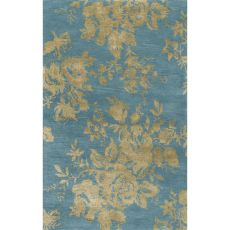 Contemporary Floral & Leaves Pattern Blue/Green Wool And Art Silk Area Rug (8X10)