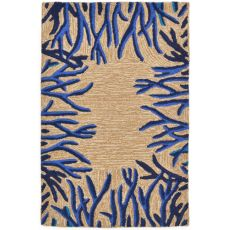 "Liora Manne Spello Coral Bdr Indoor/Outdoor Rug - Natural, 24"" by 36"""