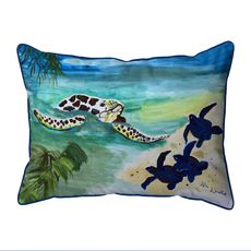 Sea Turtle & Babies Small Indoor/Outdoor Pillow 11x14
