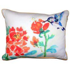 Hummingbird & Red Flower Small Outdoor Indoor Pillow