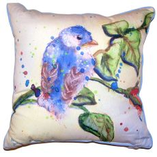 Betsy'S Blue Bird Small Outdoor Indoor Pillow