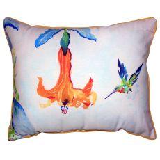 Hummingbird & Trumpet Vine Small Outdoor Indoor Pillow