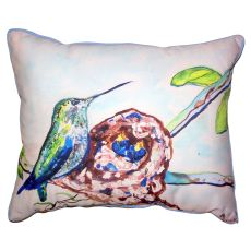 Hummingbird & Chicks Small Outdoor Indoor Pillow