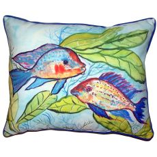 Pair Of Fish Small Outdoor Indoor Pillow