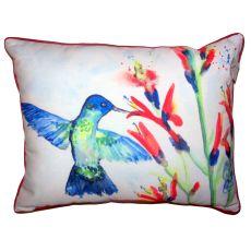 Hummingbird & Fire Plant Small Outdoor Indoor Pillow