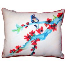 Red Buds & Bird Small Outdoor Indoor Pillow