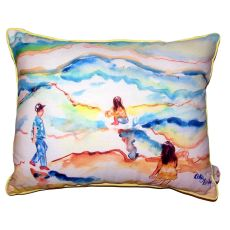 Playing At The Beach Small Outdoor Indoor Pillow
