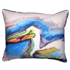 White Pelican Head Small Outdoor Indoor Pillow